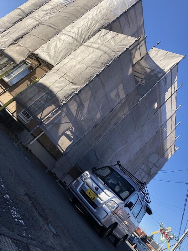 三重県松坂市 外壁塗装 近隣の方へのご挨拶 仮説足場の設置
